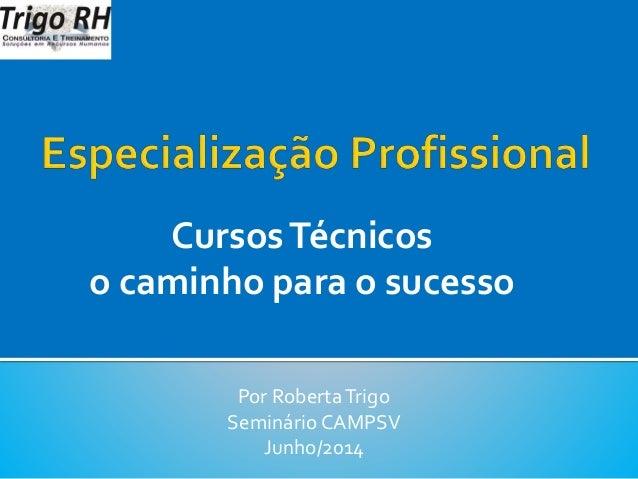 CursosTécnicos o caminho para o sucesso Por RobertaTrigo Seminário CAMPSV Junho/2014