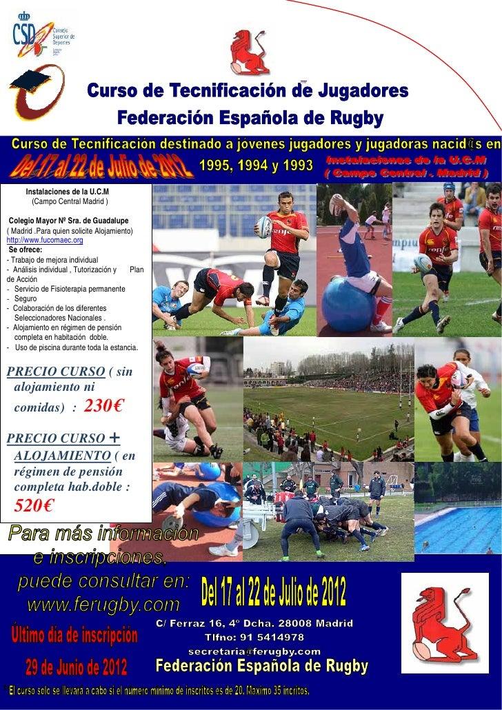Instalaciones de la U.C.M        (Campo Central Madrid ) Colegio Mayor Nº Sra. de Guadalupe( Madrid .Para quien solicite A...