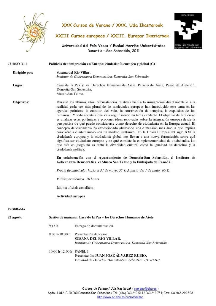Programa del Curso verano `Políticas de inmigración en Europa: ciudadanía europea y global´