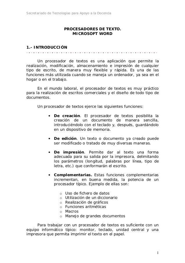 Secretariado de Tecnologías para Apoyo a la Docencia                        PROCESADORES DE TEXTO.                        ...