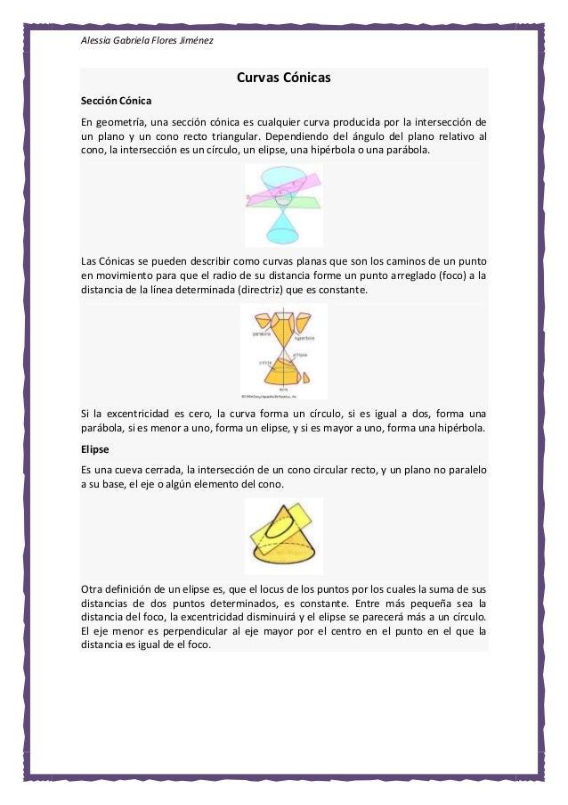 Alessia Gabriela Flores Jiménez Curvas Cónicas Sección Cónica En geometría, una sección cónica es cualquier curva producid...