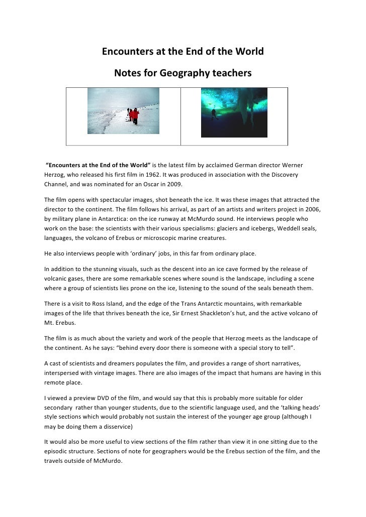 """Encounters at the End of the World                            Notes for Geography teachers     """"Encounters at the End of t..."""
