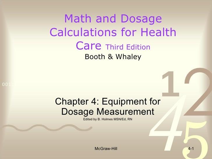 Math and Dosage Calculations for Health Care  Third Edition Booth & Whaley McGraw-Hill 4- Chapter 4: Equipment for Dosage ...