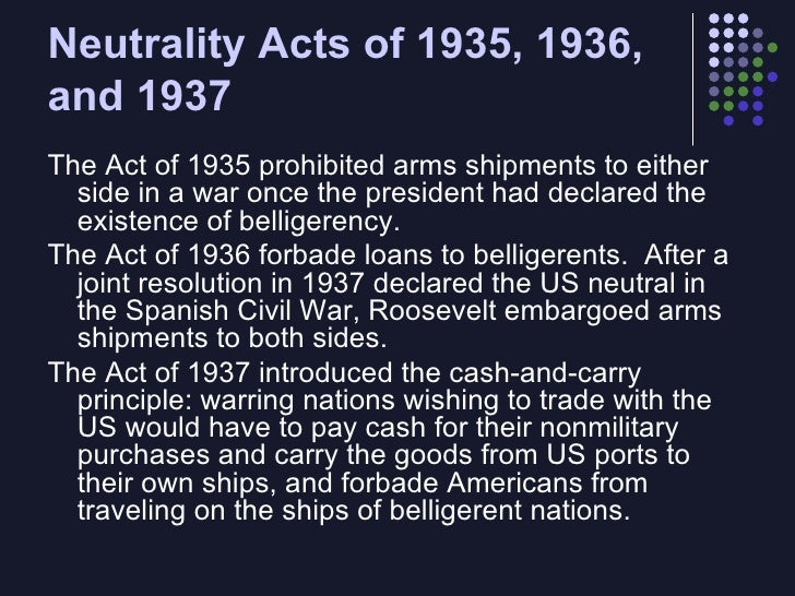 the neutrality acts of the 1930's