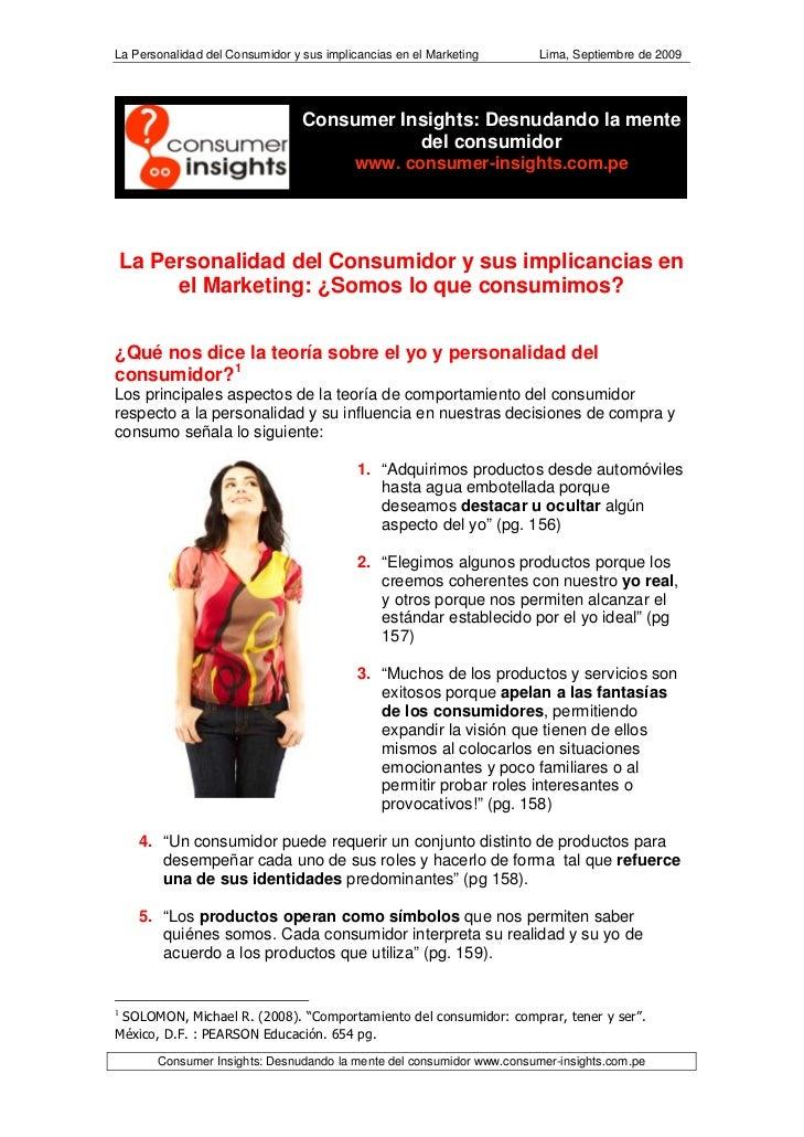La Personalidad del Consumidor y sus implicancias en el Marketing      Lima, Septiembre de 2009                           ...