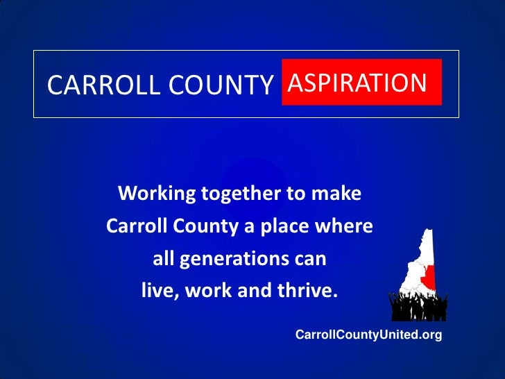 CARROLL COUNTY<br />ASPIRATION<br />Working together to make <br />Carroll County a place where <br />all generations can ...