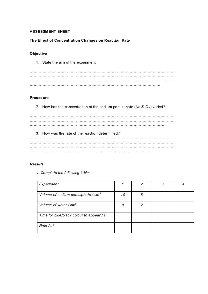 rates of reaction investigation essay