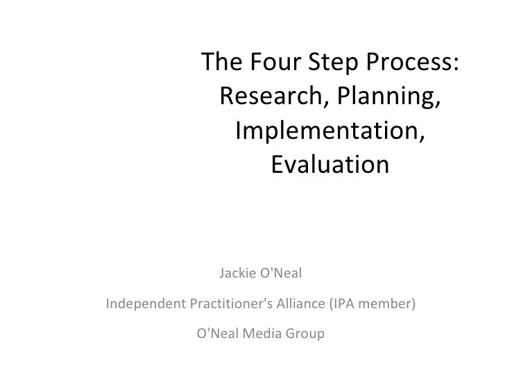 The Four Step Process: Research, Planning, Implementation, Evaluation Jackie O'Neal Independent Practitioner's Alliance (I...