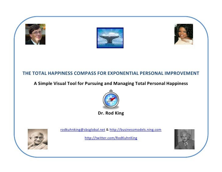 THE TOTAL HAPPINESS COMPASS FOR EXPONENTIAL PERSONAL IMPROVEMENT     A Simple Visual Tool for Pursuing and Managing Total ...