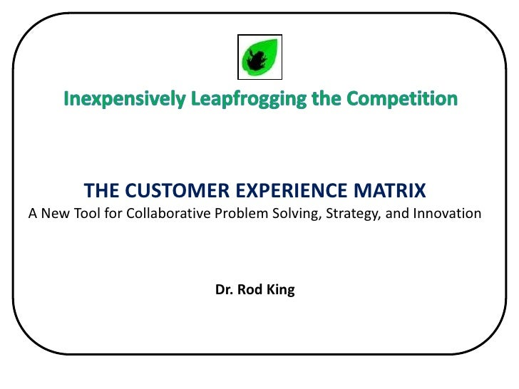 Inexpensively Leapfrogging the Competition<br />THE CUSTOMER EXPERIENCE MATRIXA New Tool for Collaborative Problem Solving...