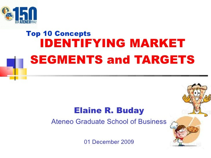 IDENTIFYING MARKET SEGMENTS and TARGETS Elaine R. Buday Ateneo Graduate School of Business 01 December 2009 Top 10 Concepts