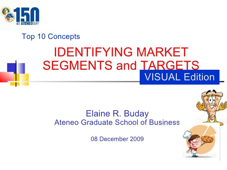 IDENTIFYING MARKET SEGMENTS and TARGETS Elaine R. Buday Ateneo Graduate School of Business 08 December 2009 Top 10 Concept...