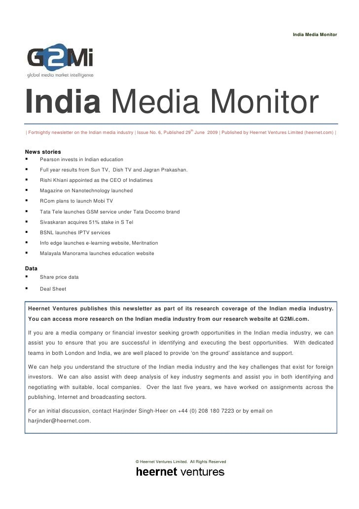 India Media Monitor (Issue 6, June 2009)