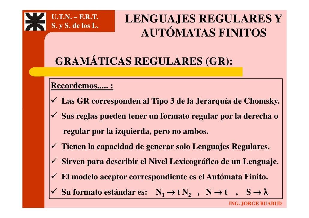 U.T.N. – F.R.T.      LENGUAJES REGULARES Y S. y S. de los L.                        AUTÓMATAS FINITOS   GRAMÁTICAS REGULAR...