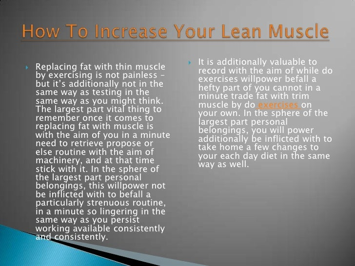 How To Increase Your Lean Muscle