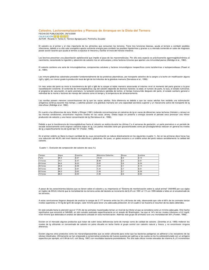 Calostro, Lactoreemplazantes y Piensos de Arranque en la Dieta del Ternero<br />FECHA DE PUBLICACIÓN: 29/10/2009<br />CAL...