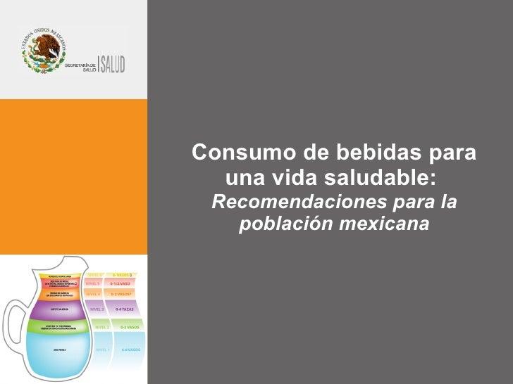 Consumo de bebidas para una vida saludable:  Recomendaciones para la población mexicana