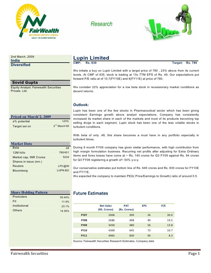 Lupin Limited Target 780: Fairwealth Securities