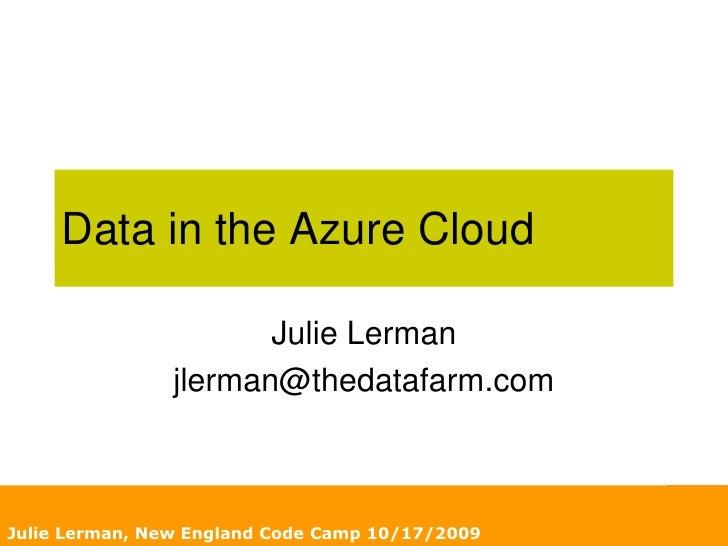 Data in the Azure Cloud, by Julie Lerman
