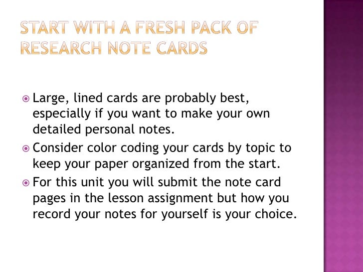 notecards for a research paper