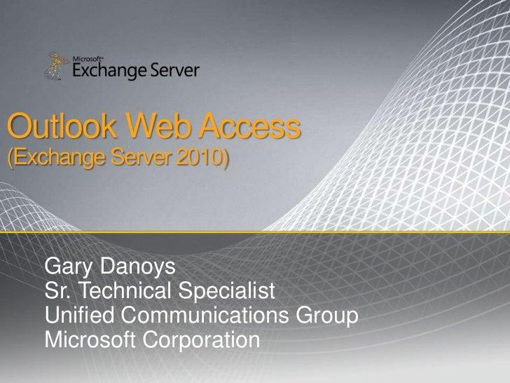 TechNet Webcast: Exchange 2010 Outlook Web Access
