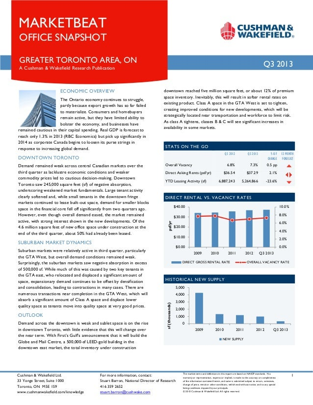 MARKETBEAT OFFICE SNAPSHOT  GREATER TORONTO AREA, ON  Q3 2013  A Cushman & Wakefield Research Publication  ECONOMIC OVERVI...