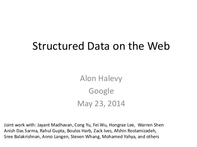 Structured Data on the Web Alon Halevy Google May 23, 2014 Joint work with: Jayant Madhavan, Cong Yu, Fei Wu, Hongrae Lee,...