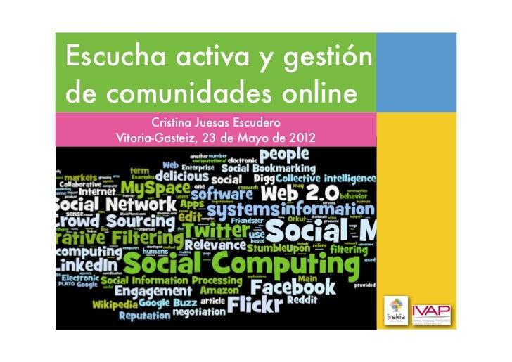Escucha activa y gestiónde comunidades online          Cristina Juesas Escudero   Vitoria-Gasteiz, 23 de Mayo de 2012