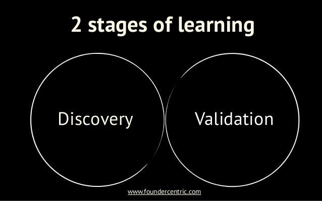 2 stages of learningDiscovery                   Validation        www.foundercentric.com