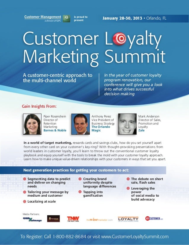 Customer Loyalty Marketing Summit Brochure