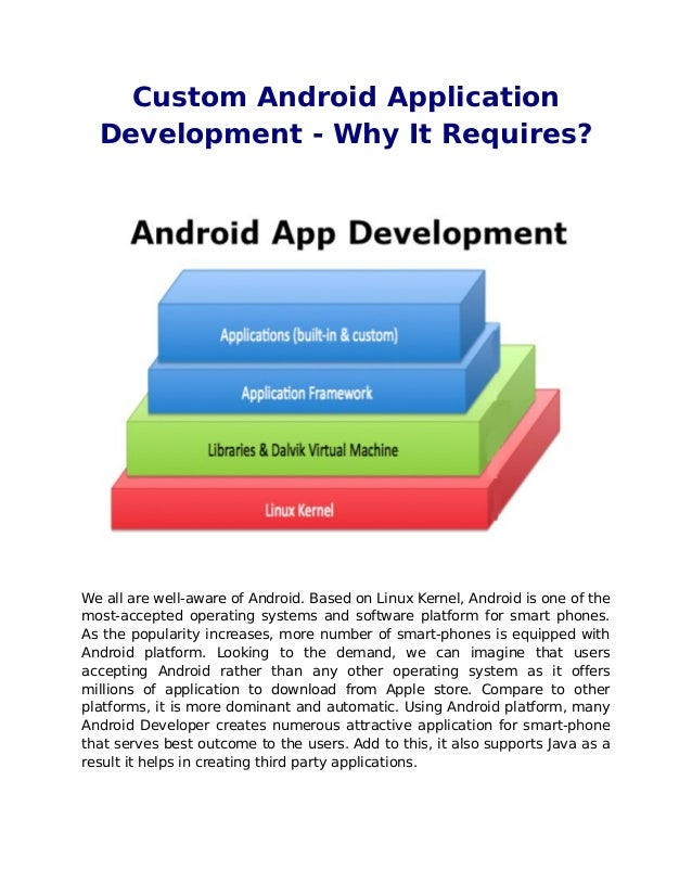 Custom Android Application  Development - Why It Requires?We all are well-aware of Android. Based on Linux Kernel, Android...
