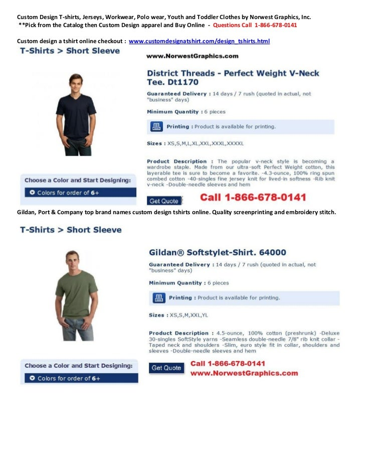 Custom Design T-shirts, Jerseys, Workwear, Polo wear, Youth and Toddler Clothes by Norwest Graphics, Inc.**Pick from the C...
