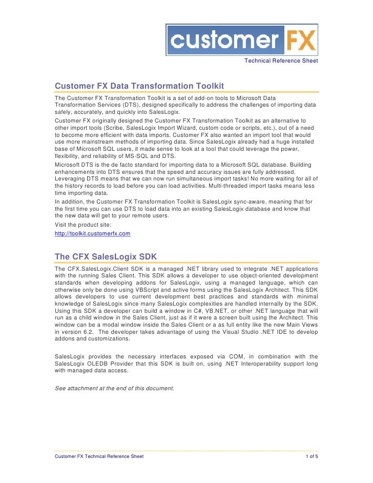 Customer FX Technical Reference Sheet