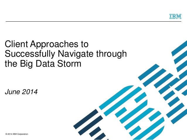 © 2014 IBM Corporation Client Approaches to Successfully Navigate through the Big Data Storm June 2014
