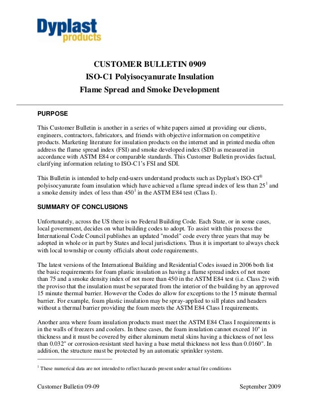 Customer Bulletin 09-09 September 2009 CUSTOMER BULLETIN 0909 ISO-C1 Polyisocyanurate Insulation Flame Spread and Smoke De...