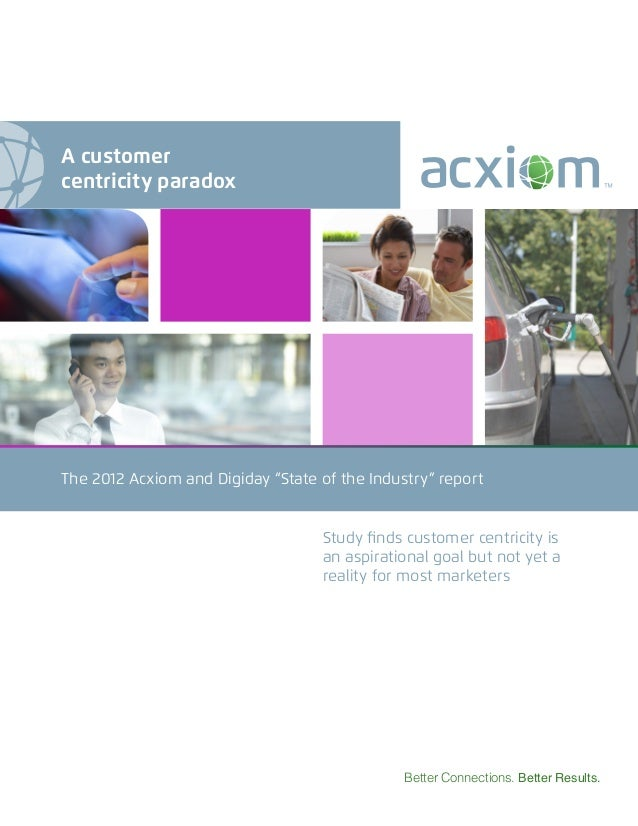 """The 2012 Acxiom and Digiday """"State of the Industry"""" report Better Connections. Better Results. Study finds customer centri..."""