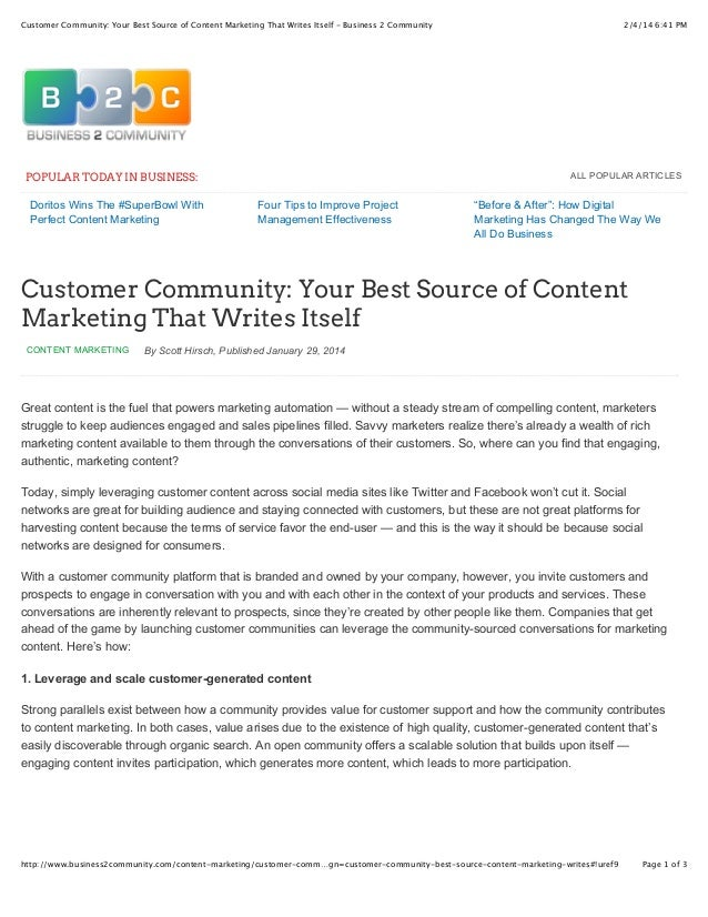 Customer Community, Your Best Source of Content Marketing that Writes Itself