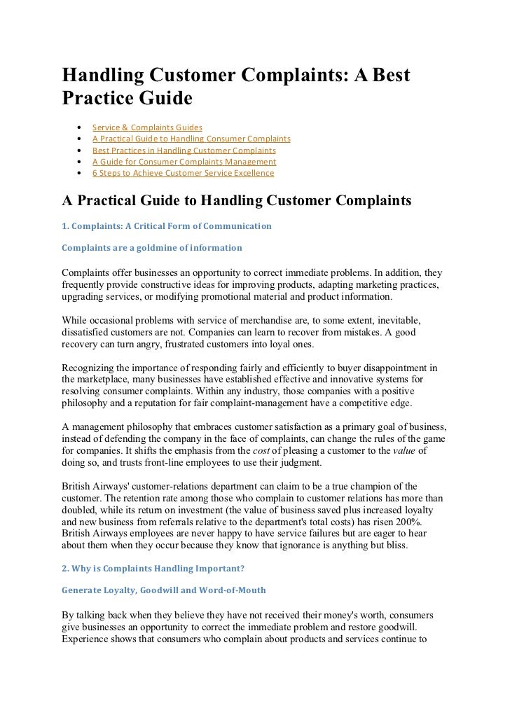 effectiveness of handling guest complaints The key elements of an effective system for handling customer complaints 2 internal complaint handling procedures: key elements 21 general principles  internal procedures for handling customer complaints, including those in relation to the practices of debt collection agencies employed by them in formulating.