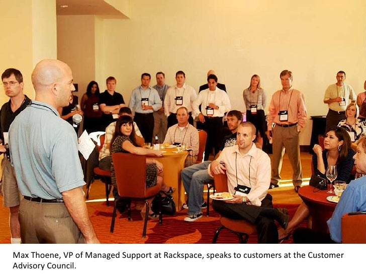 Max Thoene, VP of Managed Support at Rackspace, speaks to customers at the Customer Advisory Council.  <br />