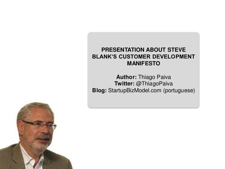 Customer Development Manifesto by Steve Blank