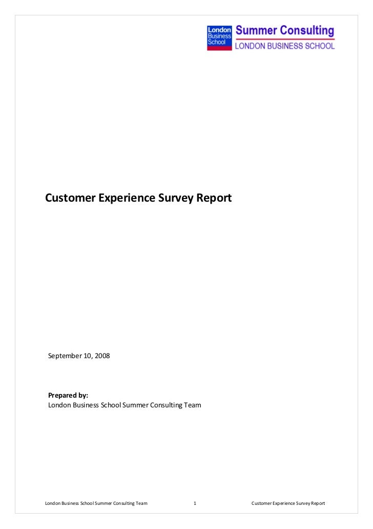 Customer Experience Survey Report   Final