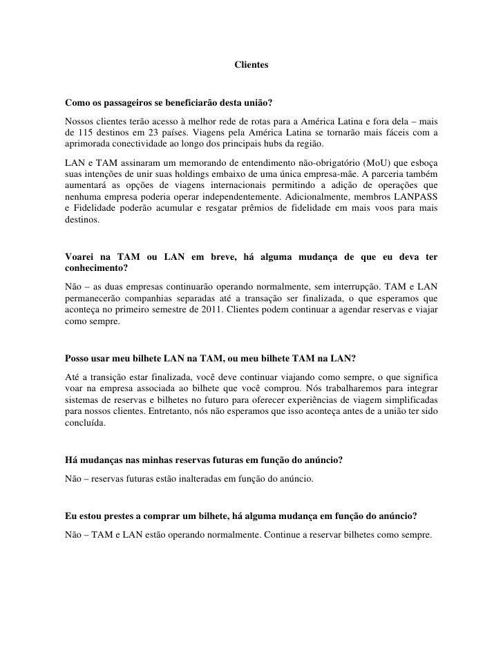 Esclarecimentos sobre União TAM e LAN