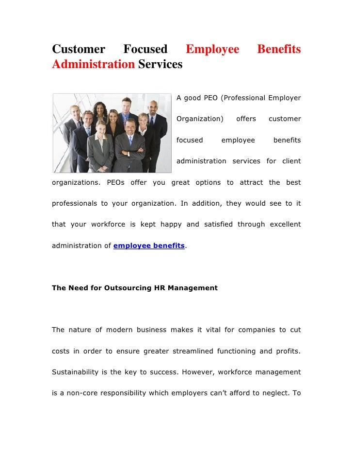 Customer Focused Employee                                     BenefitsAdministration Services                             ...