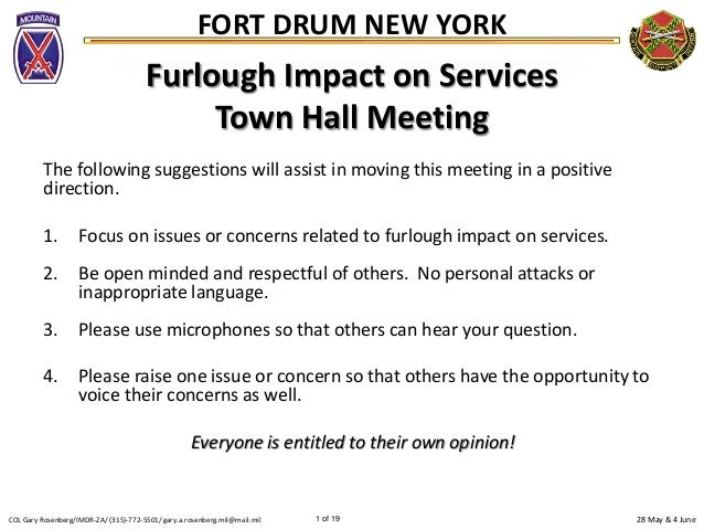 28 May & 4 JuneCOL Gary Rosenberg/IMDR-ZA/ (315)-772-5501/ gary.a.rosenberg.mil@mail.mil 1 of 19FORT DRUM NEW YORKFurlough...