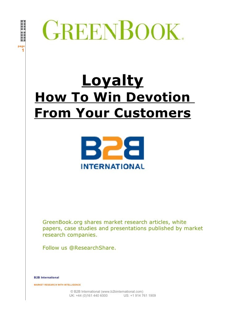 page   1                                                Loyalty        How To Win Devotion        From Your Customers     ...