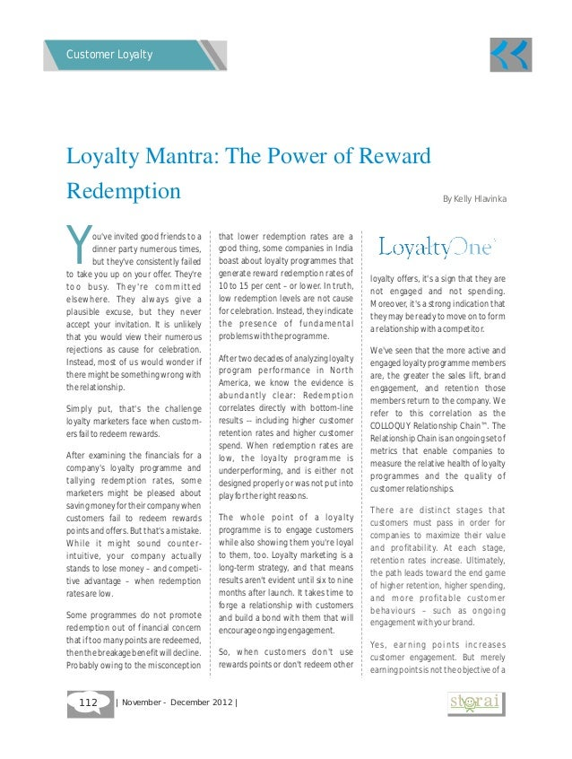 Customer LoyaltyLoyalty Mantra: The Power of RewardRedemption                                                             ...