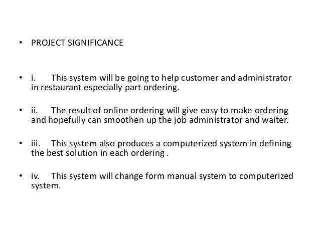 Thesis documentation for ordering system