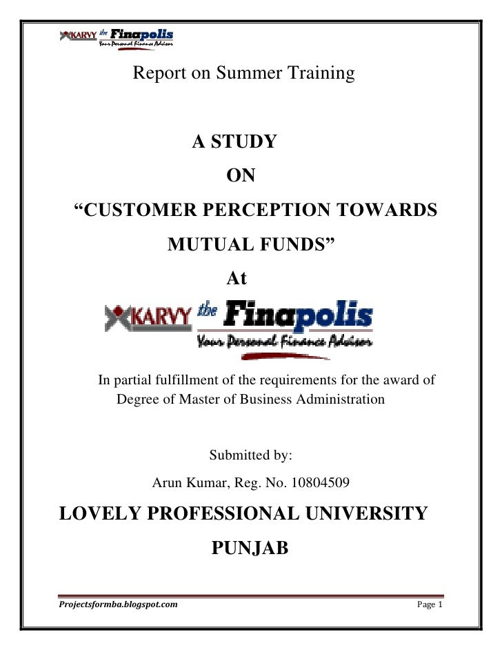 Customer perception towards mutual funds