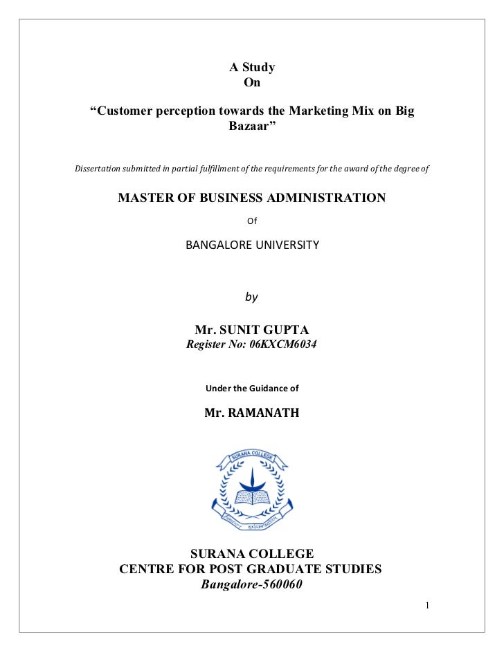 "A Study                                           On    ""Customer perception towards the Marketing Mix on Big             ..."