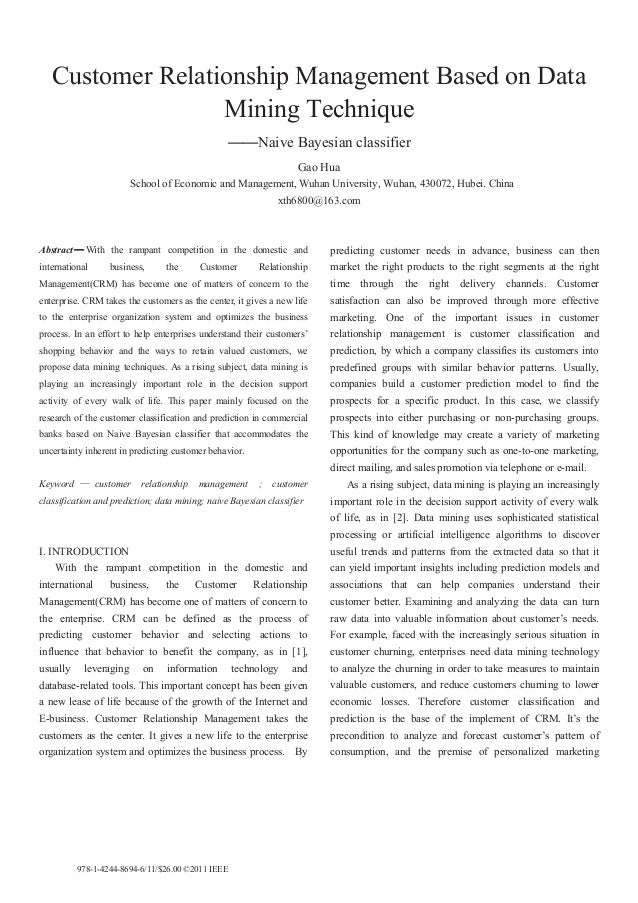 Customer Relationship Management Based on Data                  Mining Technique                                          ...